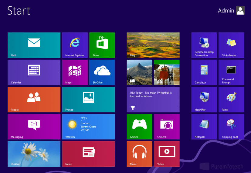 Windows 8 Start screen menu