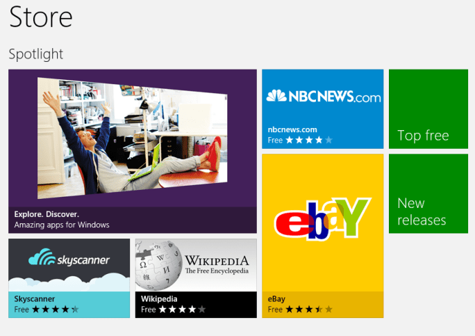 Windows Store - Front page