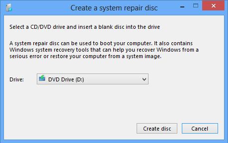 System image repair disc drive