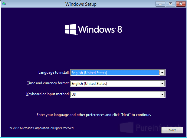 Win 8 Setup screen
