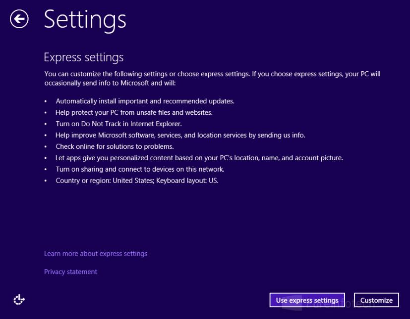 Express settings