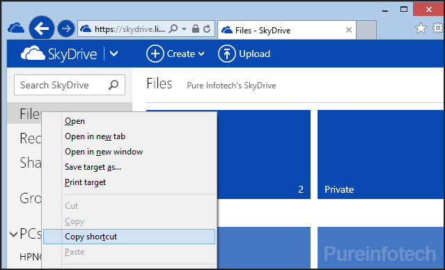 SkyDrive Web Internet Explorer