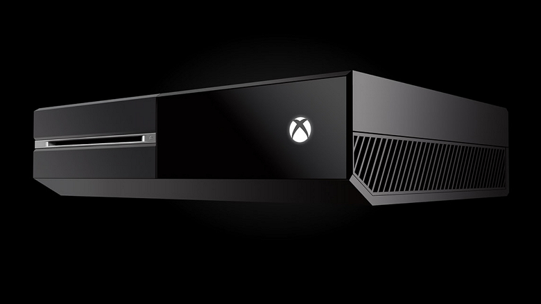 Xbox One console angle view with black background 780_wide
