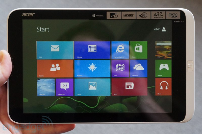 Acer Iconia W3 8-inch tablet front view 800_wide