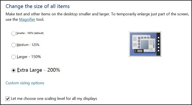 Windows 8.1 control panel display settings