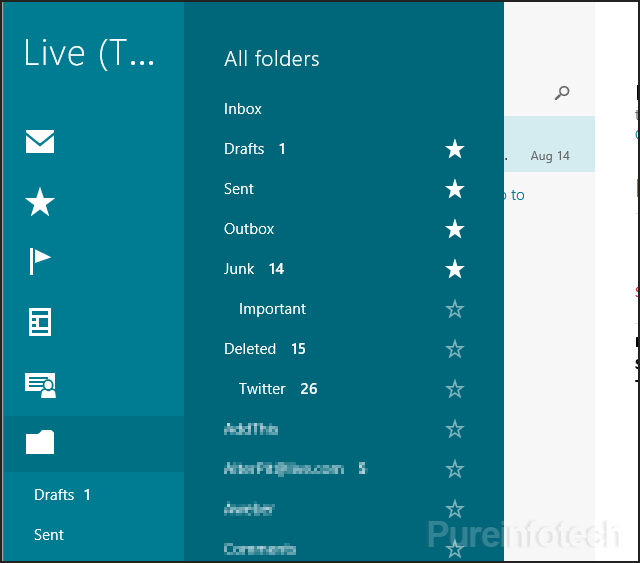 Mail All Folders section for Windows 8.1