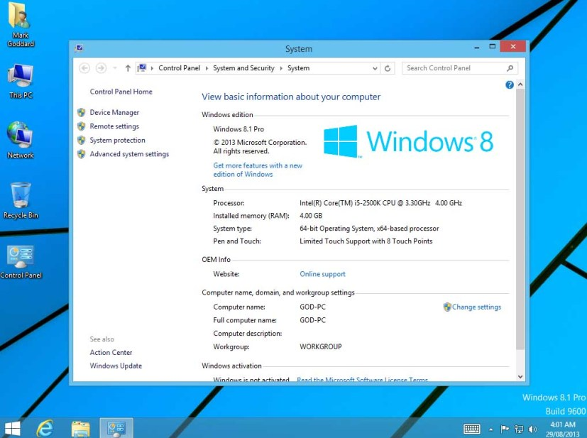 Windows 8.1 Pro build 9600 screenshot