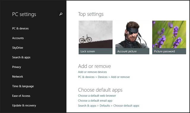 PC settings screen in Windows 8.1