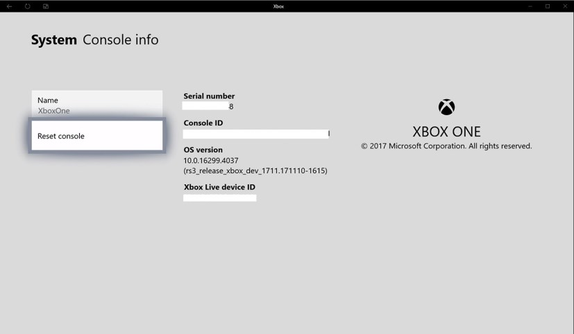 Xbox One Console info