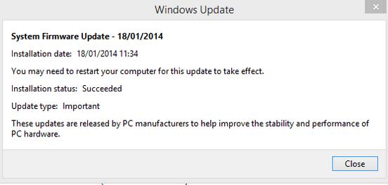 Surface Pro 2 firmware update January 2014