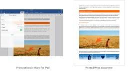Word for iPad printing options