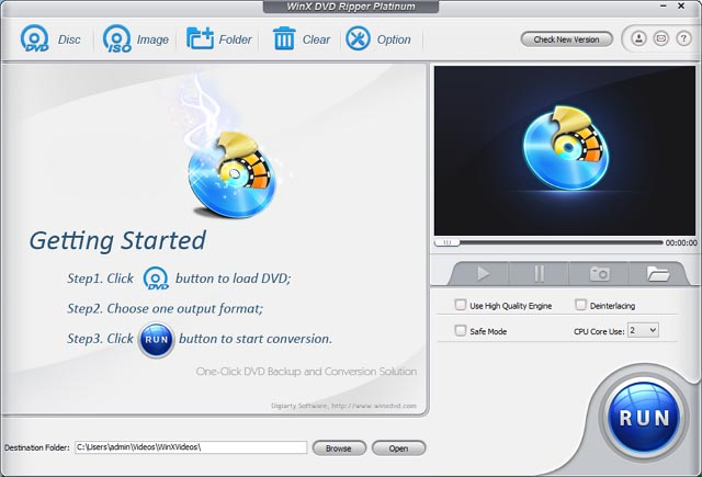 WinX DVD Ripper Platinum home screen
