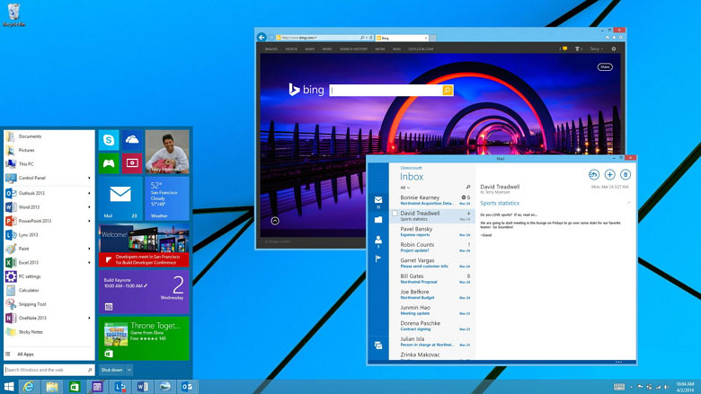 "Windows 9 ""Threshold"" Start Menu concept from demo at Build conference."