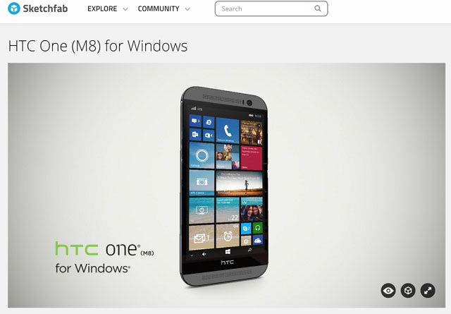 HTC One M8 for Windows 3D model