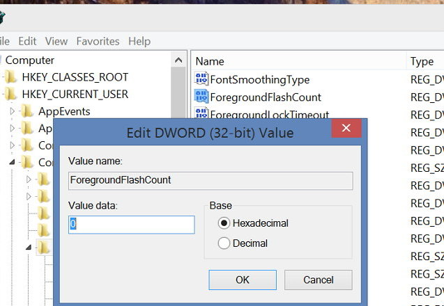 Regedit ForegroundFlashCount setting in Windows 8.1