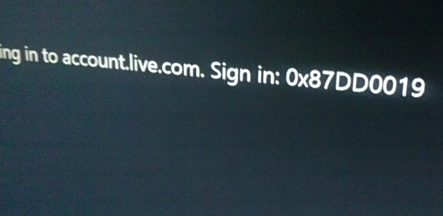 Xbox One 0x87DD0019 error message