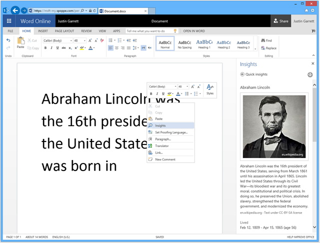 Insights for Office - Abraham Lincoln result