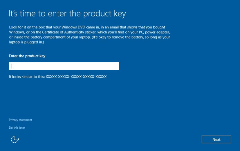 Enter product key Windows 10 setup