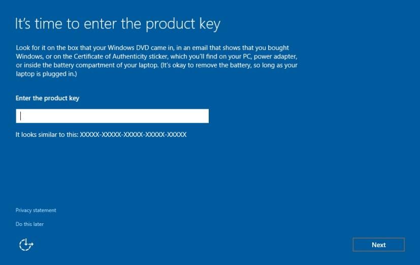 Enter product key Windows 10 setup