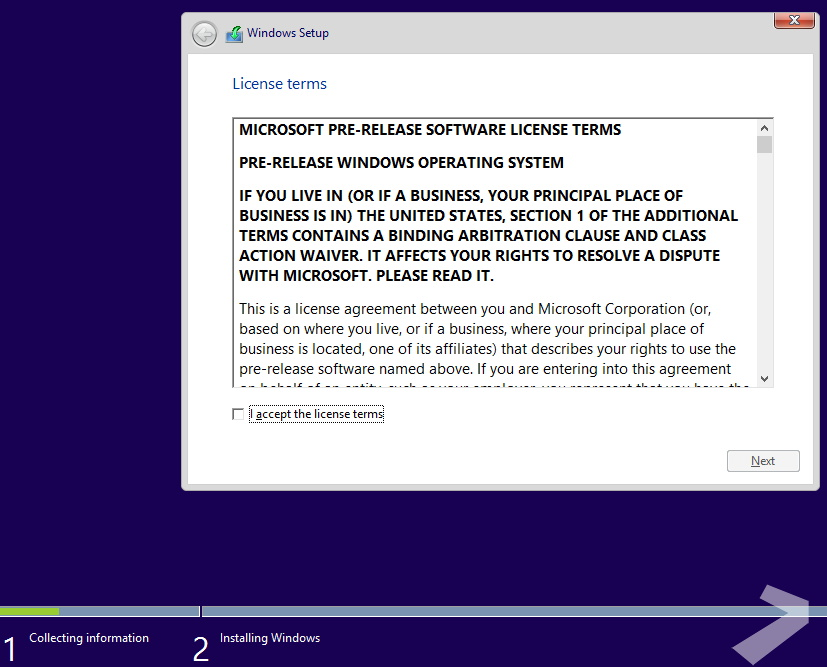 Windows license terms before installation