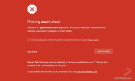 Phishing and malware protection red warning in chrome