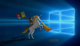 Windows 10 default wallpaper Cat riding on a Unicorn
