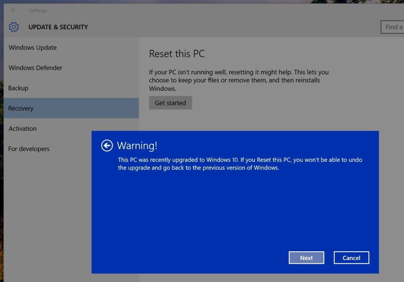 Windows 10 recovery warning