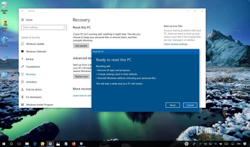 Windows 10 reset PC