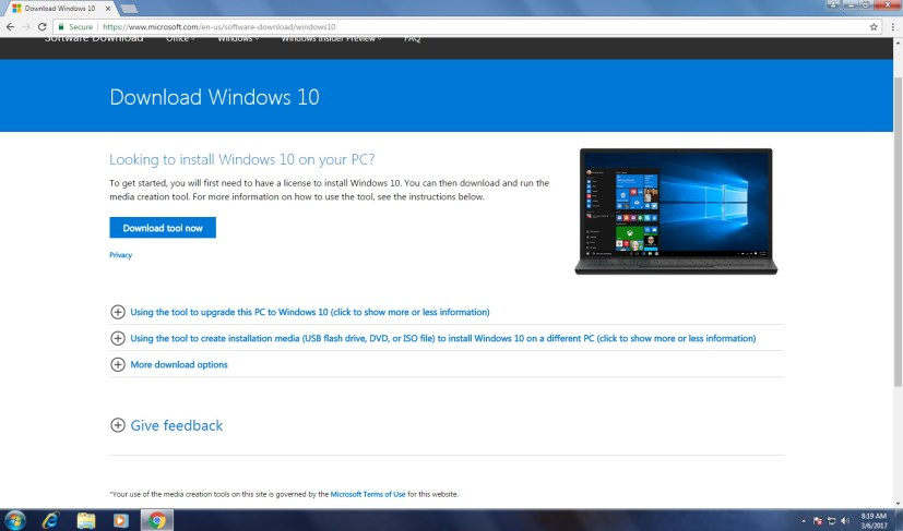 Download Windows 10 from Microsoft