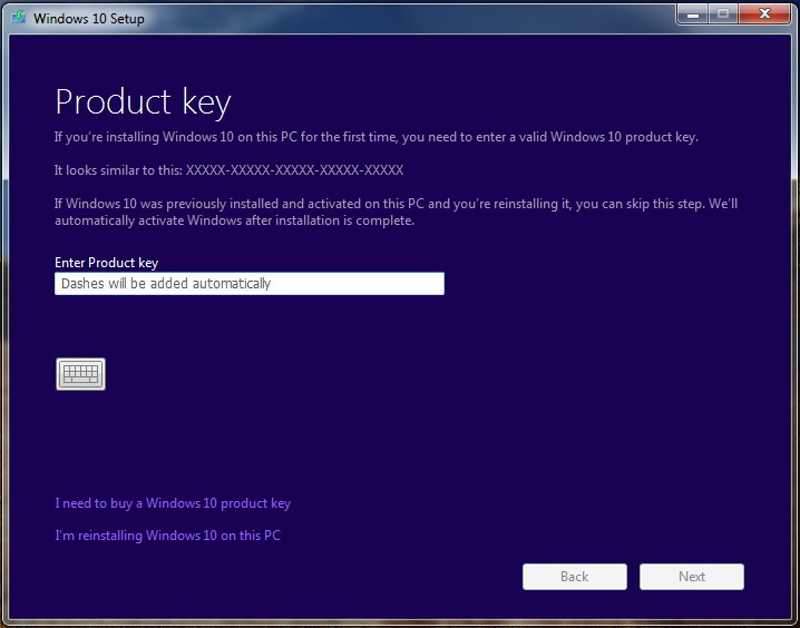 Enter Windows 10 product key