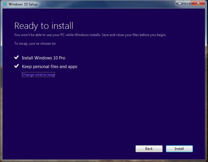 Keep personal files and apps upgrading to Windows 10