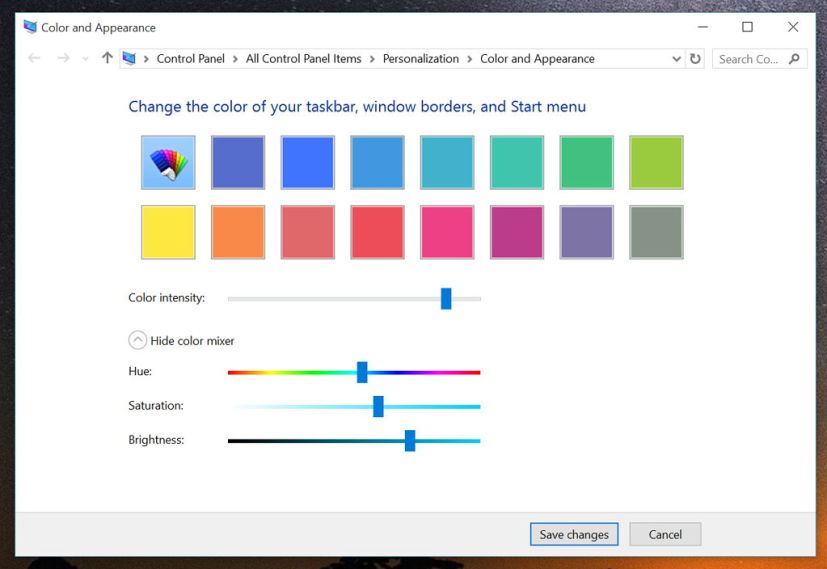 Windows 10 Color and Appearance  settings