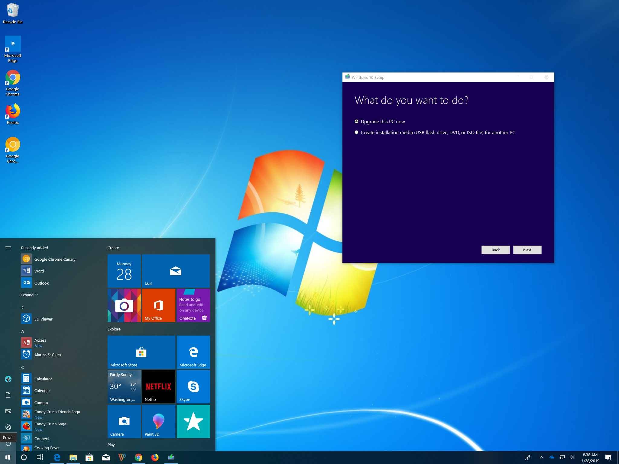 Windows 7 to Windows 10 upgrade process
