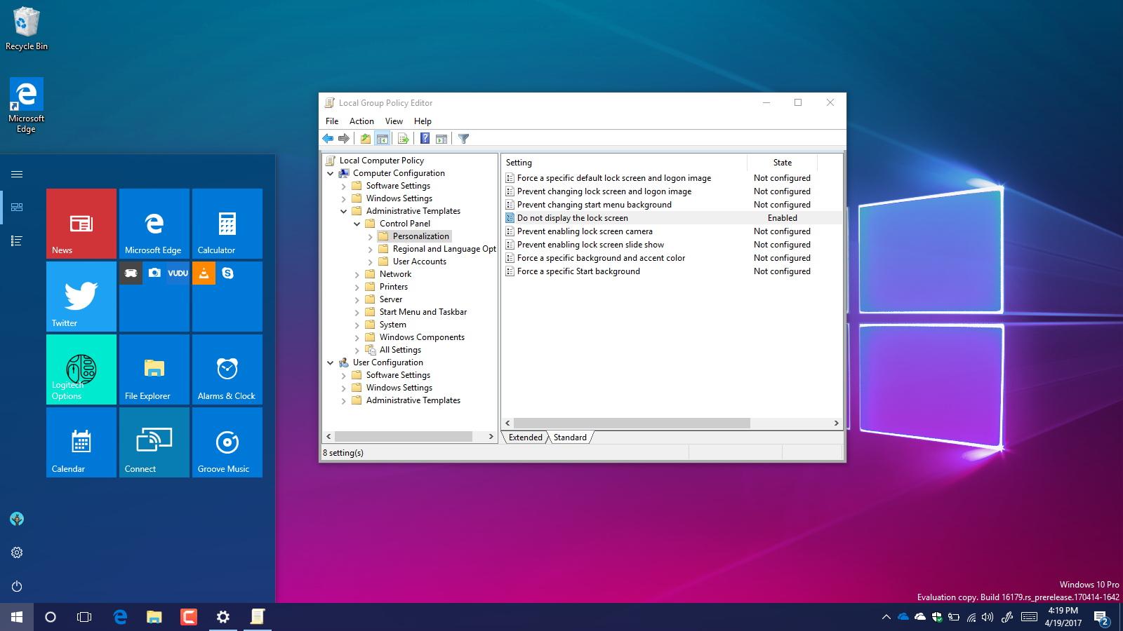 Disable Lock screen on Windows 10