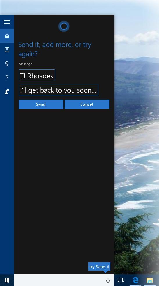 Cortana text