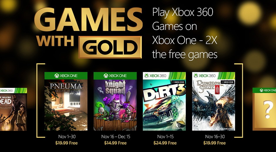 November 2015, Xbox free games with Gold