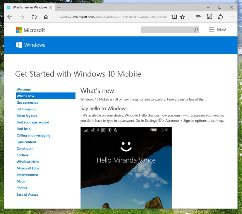 Whats New In Windows 10 Mobile Support Page Helps Users