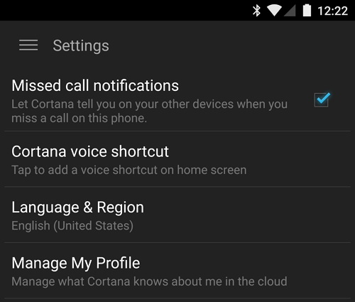 Cortana Missed call notifications Android setting