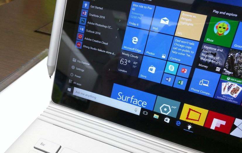 Surface Book with Cortana on the Windows 10 taskbar