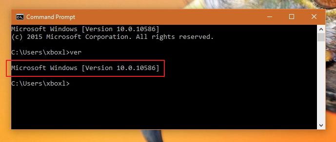 Windows 10 ver command