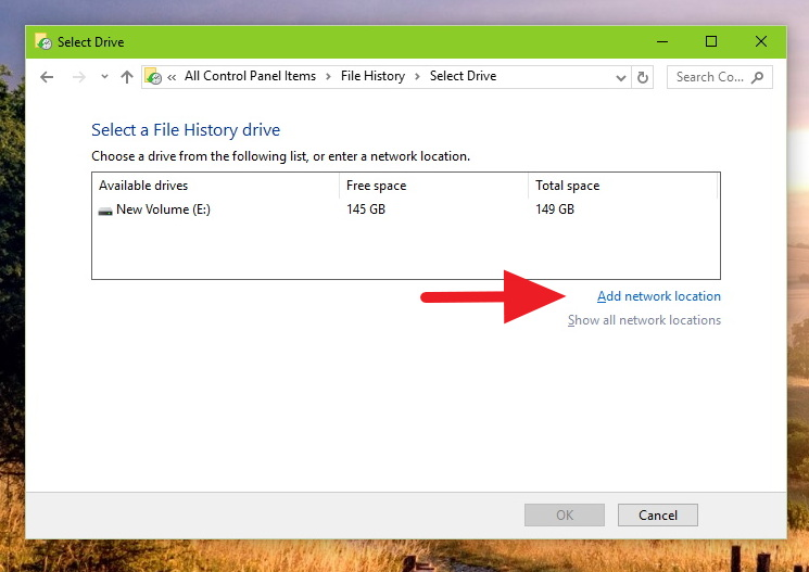 File History - Add network location