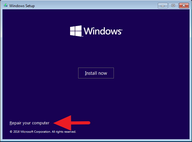Repair your computer - Windows 10 Setup