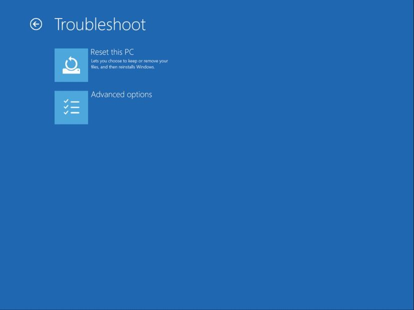 Troubleshoot menu (Advanced Startup)