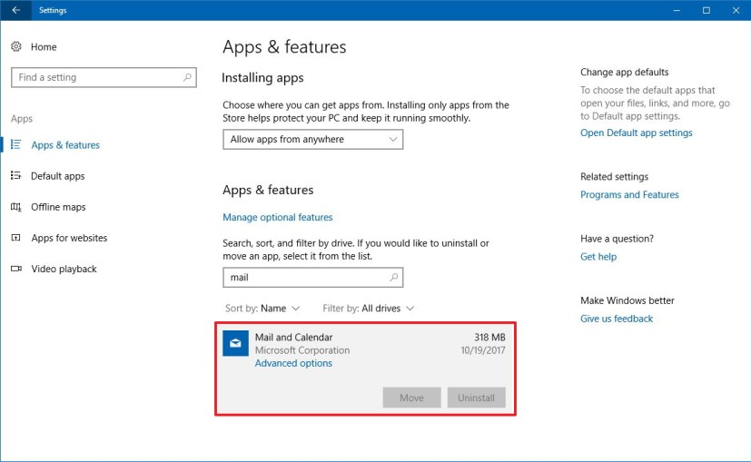 Apps settings on Windows 10