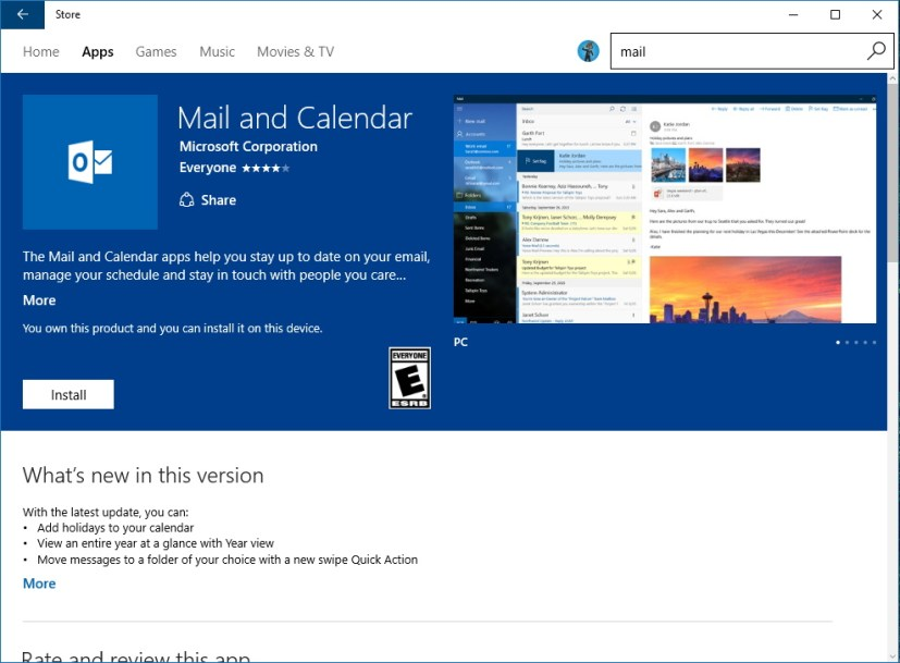 Mail and Calendar apps on the Windows Store