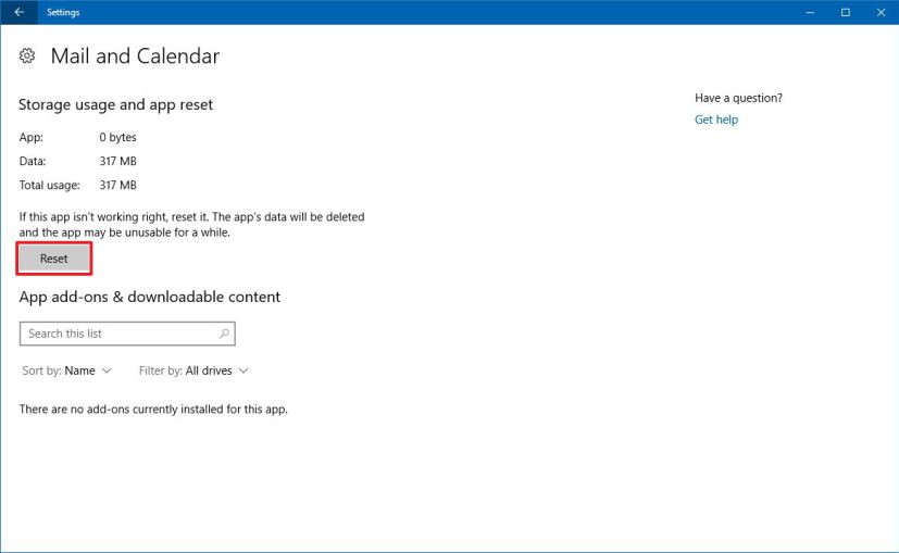 Mail and Calendar reset option