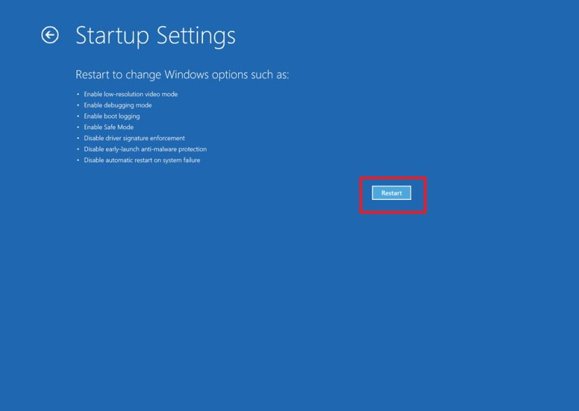 Startup Settings in Windows 10