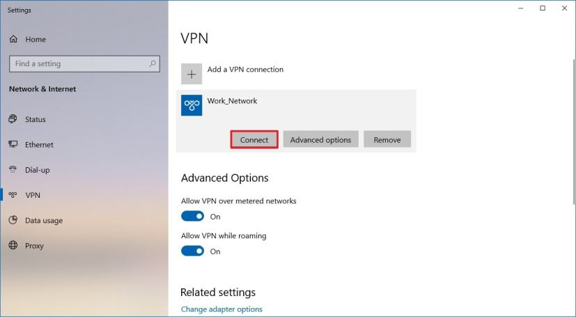 Connecting to VPN server