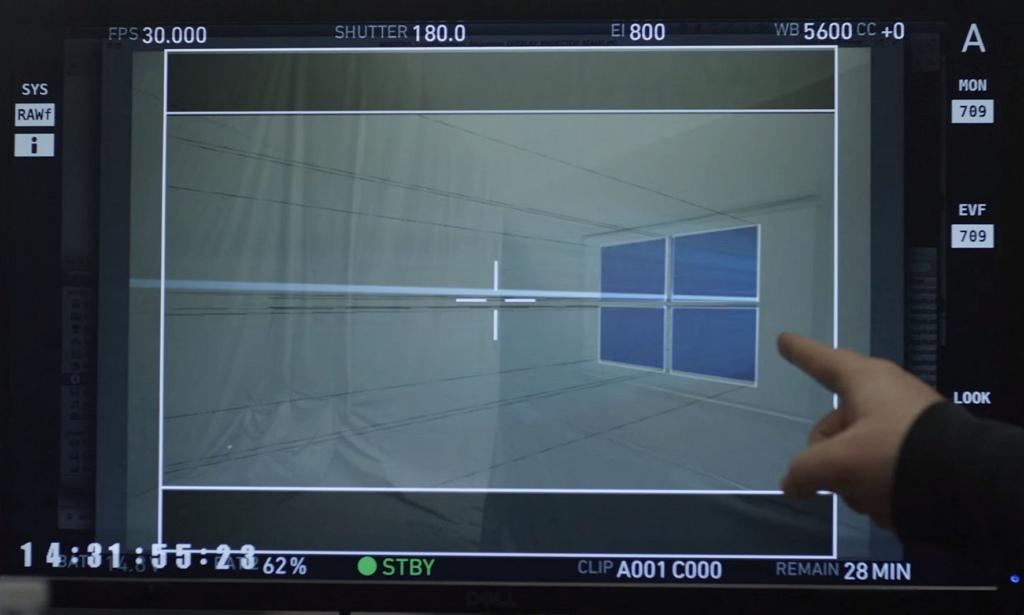 Windows 10 logo on film