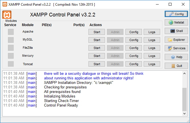 XAMPP Control Panel on Windows 10